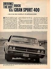 1967 BUICK GRAN SPORT 400  ~  ORIGINAL 2-PAGE NEW CAR PREVIEW ARTICLE / AD