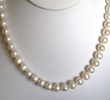 """14k Yellow Gold 8-9mm Off-Round Genuine Pearl Necklace~~18"""" Strand~~Free Ship!"""