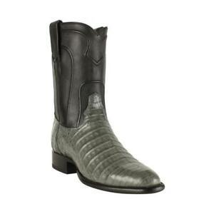 Men's Los Altos Genuine GRAY Crocodile Belly Roper Boots Round Toe Handmade