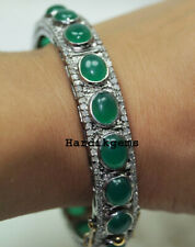 925 Sterling Silver Victorian Bangle Natural Rosecut Diamond & Emerald Solid
