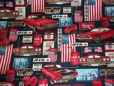 American Muscle Red White Blue Garage Cars 5333 Studio E Quilt Crafts Free Ship