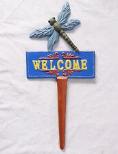 Dragonfly Plant Stake Wrought Cast Iron Landscape Decor-Custom Painted Pizzazz