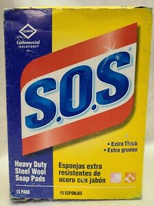 SOS CLOROX 15 PACK Reusable soap filled STEEL WOOL PADS, NEW w/ FREE SHIPPING!