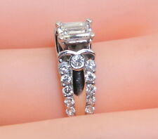 Gorgeous 14K White Gold .80 Ct  TW  with .40Ct Emerald Cut Diamond Ring Size 5