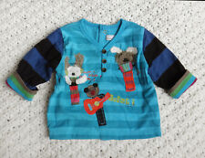 New With Tags Catimini  Boys Turquoise Cotton Striped T-shirt / Top  @ 3M @