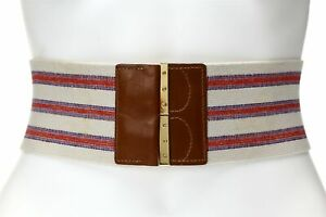 TORY BURCH Woman's Striped Waist Belt Sz M 135019
