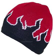 MG Adult Flames Design Beanie Skull Cap W/Fleece Lining, #730 Red/Black