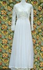 VINTAGE 60S SUPER-SWEET CREAMY WHITE LACE & CHIFFON WEDDING DRESS SIZE SMALL WOW