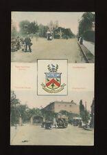 Gloucestershire Glos CHELTENHAM bi-view Trams Heraldic c1900s? PPC