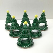 Christmas Ceramic Tree Napkin Ring Holders Star Tops Vintage Green Six 6