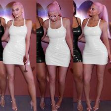 Sexy Women PVC Leather Zipper Wetlook Night Club Bodycon Party Short Mini Dress