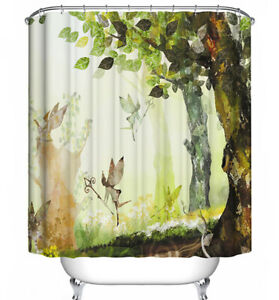 Forest Fairy Shower Curtain Green Tree Leaf Enchanted Mystic Fantasy Fairy Tale