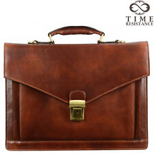 LEATHER BRIEFCASE LAPTOP BAG MENS BROWN ATTACHE GENUINE MADE IN ITALY NEW