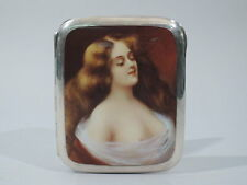 Antique Cigarette Case  - Alluring Lorelei  - European 935 Silver  Enamel