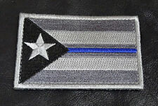 PUERTO RICO FLAG POLICE THIN BLUE LINE SWAT TACTICAL MORALE ACU  HOOK PATCH