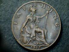 George V 1917 Bronze Farthing, grade fine.