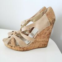 Women's open toe shoes Beige BEBE suede wedges size 7.5 M