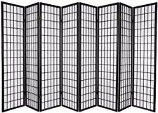 "71"" H Oriental Style 8-Panel Room Divider Shoji Screen, Black Framed"