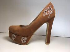 Ladies BNIB Tan High Heel Platform Shoes Pumps Skull Diamanté Pole Sz 3.5 Eur 36