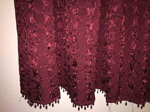 JC Penney 2 Burgundy Rod Pocket Curtains Satin Beaded Hem Austrian Swag Loops