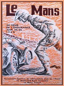 1960 24 Hours Le Mans French Automobile Race Advertisement Vintage Poster 4