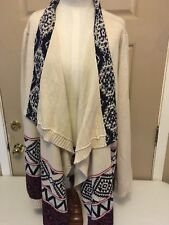 Pink Rose Cascade Womens White Black Red Aztec Duster Sweater Sz 3x