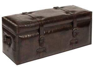 """43"""" L Trunk Bench Top Grain Buffalo Leather Brass Iron Accents Antique Brown"""