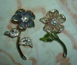 Nolan Miller Glamour Collection County Flower Enamel Rhinestone 2 Pin Brooch Set