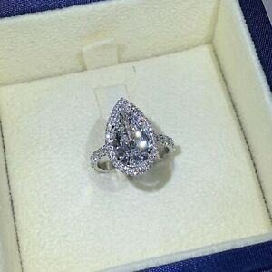 3.50 TCW Pear Cut Diamond Halo Engagement Ring In 14k White Gold Plated