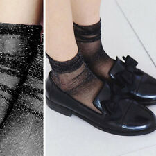 Pair of Sheer Glitter Mesh Soft Ankle High Long Socks Lolita Pin-Up Vintage OS