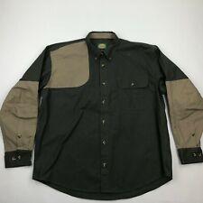 Cabela's Men Brown Green Button Front Long Sleeve Shooting Shirt sz XL