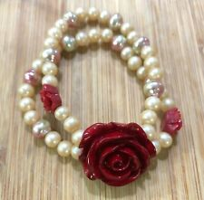 Red Rose Pink Cultured Pearls Bead 2 Strand Layered Handmade Bracelet Stretch