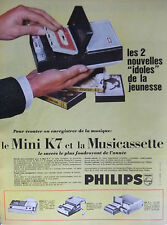 PUBLICITÉ DE PRESSE 1966 LE MINI K7 PHILIPS ET LA MUSICASSETTE - ADVERTISING