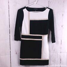 White House Black Market Womens XXS Black Tan Geometric Color Block Career Tunic