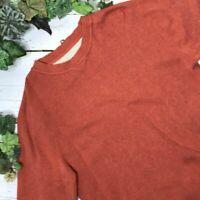 Orvis Mens Orange Ribbed Crewneck Pullover Sweater Grandpa Size Small