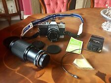 MINOLTA SRT100x 35mm Film SLR Manual Camera + Vivitar Macro Lens + Flash Extras