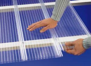 (29,98 €/m²) Stegplatten 16mm Polycarbonat Hohlkammerpaneele klar Klickprofil