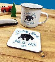 Daddy Bear Enamel Mug OR Coaster OR set FULLY PERSONALISED Father's Day Papa Dad