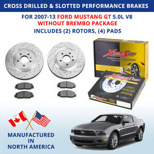 Cross Drilled Slotted Performance Brakes 2007-13 For: Ford Mustang GT wo/Brembo