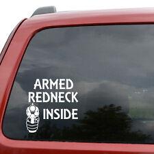 "Armed Redneck Inside Gun Car Window Decor Vinyl Decal Sticker- 6"" Tall White"