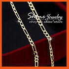 9K YELLOW ROSE WHITE SILVER GOLD FILLED FIGARO CURB CHAIN SOLID NECKLACE pendant