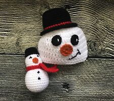 Newborn Baby Christmas Snowman Hat and Toy Photo Prop Outfits Baby Clothes