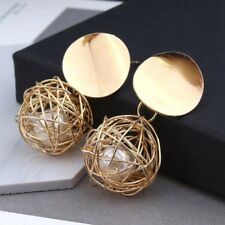 Elegant Women Gold Plated Round Pearl Cage Dangle Drop Earrings Ear Stud Jewelry