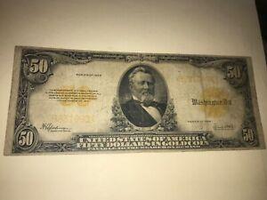 1922 $50 GOLD CERTIFICATE LARGE, FR#1200, SPEELMAN/WHITE,
