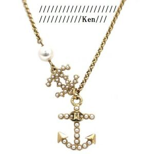 CHANEL Necklace AUTH Coco Mark chain Logo Vintage Rare GP Gold Anchor pearl F/S