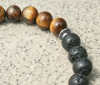 8mm Tigereye Volcanic Bracelet men yoga energy Bead Healing Meditation Wrist
