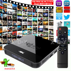 H96 Android 9.0 OS Smart TV BOX Dual WIFI BT HDMI2.0 4K Quad Core Media Player