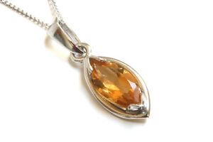 9ct White Gold Citrine Pendant and Chain Necklace Gift Boxed Made in UK