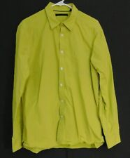 Kenneth Cole Men's Yellow & White Stripe Regular Fit Collared Dress Shirt Size L
