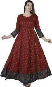Indian Women Maroon Printed Kurta Kurti Long Anarkali Flared Dress Pakistani New